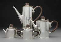A Four-Piece William Spratling Silver and Hardwood Tea and Coffee Service, Taxco, Mexico, circa 1956-1965 Marks to