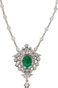 Estate Jewelry:Necklaces, Emerald, Diamond, White Gold Pendant-Necklace. ...