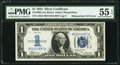 Error Notes:Mismatched Serial Numbers, Fr. 1606 $1 1934 Silver Certificate. PMG About Uncirculated 55 EPQ.. ...