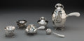 Silver & Vertu, A Three-Piece Georg Jensen Blossom Pattern Silver Group with Coffee Set and Three Tea Accessories, Copenhagen, c... (Total: 6 Items)