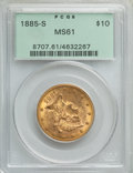 Liberty Eagles: , 1885-S $10 MS61 PCGS. PCGS Population: (186/404). NGC Census: (369/297). MS61. Mintage 228,000. ...