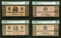 Confederate Notes:1862 Issues, T54 $2 1862 PF-5 Cr. 394B PMG About Uncirculated 55;. T55 $1 1862 PF-8 Cr. 399 PMG Choice About Unc 58, previously mounted... (Total: 4 notes)