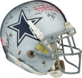 Football Collectibles:Helmets, 2008 Marion Barber Game Worn & Multi-Signed Dallas Cowboys Helmet....