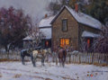 Fine Art - Painting, American, Martin Grelle (American, b. 1954). Cold Spell, 1997. Oil oncanvas. 9 x 12 inches (22.9 x 30.5 cm). Signed and dated low...