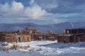 Fine Art - Painting, American, Joni Falk (American, b. 1933). Winter Light -- Taos Pueblo.Oil on canvas. 20 x 30 inches (50.8 x 76.2 cm). Signed lower...