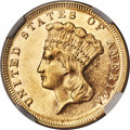 Three Dollar Gold Pieces, 1870 $3 MS62 Prooflike NGC....