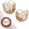 Estate Jewelry:Earrings, Ruby, Mabe Pearl, Cultured Pearl, Seed Peal, Gold Jewelry
