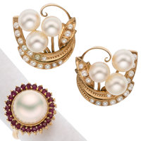 Ruby, Cultured Pearl, Mabe Pearl, Gold Jewelry