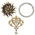 Estate Jewelry:Brooches - Pins, Diamond, Seed Pearl, Enamel, Gold Brooches. ... (Total: 3 Items)
