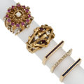 Estate Jewelry:Rings, Diamond, Ruby, Enamel, Gold Rings. ... (Total: 5 Items)