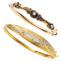 Estate Jewelry:Bracelets, Diamond, Opal, Gold Bracelets . ... (Total: 2 Items)