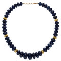 Estate Jewelry:Necklaces, Lapis Lazuli, Gold Necklace . ...