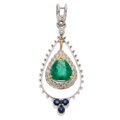 Estate Jewelry:Pendants and Lockets, Emerald, Diamond, Sapphire, Gold Pendant . ...