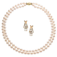 Cultured Pearl, Diamond, Gold Jewelry Suite
