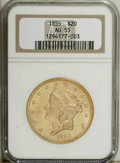 Liberty Double Eagles: , 1855 $20 AU55 NGC. Straw-gold surfaces with a touch of wheat arethe most distinguishing feature of this Choice AU coin. We...