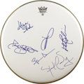 Music Memorabilia:Autographs and Signed Items, Jefferson Airplane Signed Drumhead (undated). The classic line-upof the beloved Bay Area band -- singers Grace Slick and Ma...