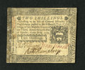Colonial Notes:Pennsylvania, Pennsylvania October 25, 1775 2s About Uncirculated. The signaturesare dark while the left-hand edge reveals glue residue....