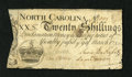 Colonial Notes:North Carolina, North Carolina March 9, 1754 20s Very Good. A little edge wear isnoticed on this scarce note that has the brightness of a h...