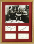 "Movie/TV Memorabilia:Autographs and Signed Items, ""The Honeymooners"" Autograph Display. A collection of signatures byHoneymooners stars Jackie Gleason, Audrey Meadows, A..."