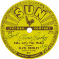 "Music Memorabilia:Autographs and Signed Items, Elvis Presley Autographed Sun Records Label. A vintage Sun Recordslabel for the single ""Baby Let's Play House"" inscribed ""B..."