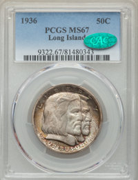 1936 50C Long Island MS67 PCGS. CAC. PCGS Population: (91/0). NGC Census: (60/6). CDN: $1,000 Whsle. Bid for problem-fre...