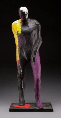 Fritz Scholder (American, 1937-2005) Painted Man, 1992 Bronze hand painted with acrylic 27 inches