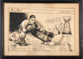 Hockey Collectibles:Others, 1935 Tiny Thompson Original Newspaper Illustration by Tommy Vamplew from The Milt Schmidt Collection....