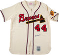 Baseball Collectibles:Uniforms, 1990's Hank Aaron Signed Mitchell & Ness Milwaukee Braves Jersey. ...