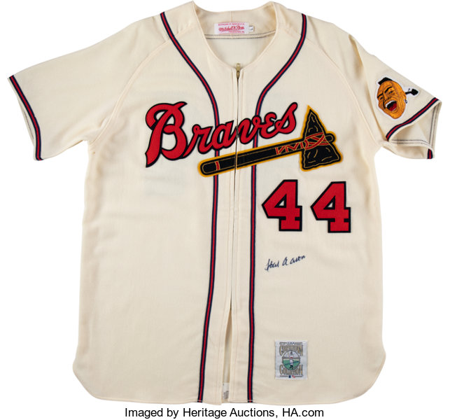 cheap for discount 45b5d 3ca73 1990's Hank Aaron Signed Mitchell & Ness Milwaukee Braves ...