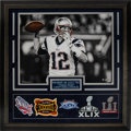 Football Collectibles:Photos, 2017 Tom Brady Signed Oversized Photograph Display....