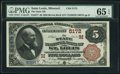 National Bank Notes:Missouri, Saint Louis, MO - $5 1882 Brown Back Fr. 477 The State NB Ch. #(M)5172 PMG Gem Uncirculated 65 EPQ.. ...