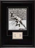 Olympic Collectibles:Autographs, 1936 Jesse Owens Signed Photograph & Olympics Ticket Stub. ...
