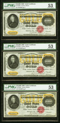 Large Size:Gold Certificates, Fr. 1225h $10,000 1900 Gold Certificates Cut Sheet of Three PMG About Uncirculated 53.. ... (Total: 3 notes)