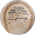 Baseball Collectibles:Balls, 1930's Lou Gehrig Signed Baseball, Displays as a Single....