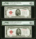 Small Size:Legal Tender Notes, Changeover Pair Fr. 1525/1526 $5 1928/1928A Legal Tender Notes. PMG Graded Choice Uncirculated 63 EPQ; Choice Uncirculated 64 ... (Total: 2 notes)