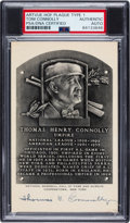 Autographs:Post Cards, 1953-5 Thomas Connolly Signed Artvue Hall of Fame Plaque Postcard, PSA/DNA Authentic....