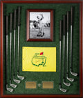 Golf Collectibles:Clubs - Miscellaneous, 1980's Arnold Palmer Match Used Set of Irons with Signed Pin Flag....