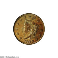 1820/19 1C MS65 Brown NGC. AU55 EAC. N-1, Early Die State, R.1. The date shows recutting on the 1 and 8 in addition to t...