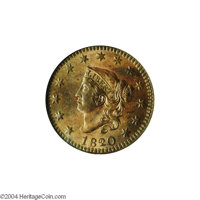 1820/19 1C MS64 Brown NGC. MS60 EAC. N-1, Early Die State, R.1. This is a second example of the early die state with rec...
