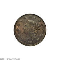 1820/19 1C MS63 Brown NGC. MS60 EAC. N-2, Early Die State, R.1. This early state has sharp border definition on both sid...