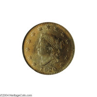 1820/19 1C MS64 Brown NGC. MS60 EAC. N-2, Intermediate Die State, R.2. A later die state cent with extensive flowlines o...