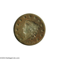 1820 1C Small Date MS61 Brown NGC. AU50 EAC. N-4, Late Die State, R.4. This is one of the finest known examples of the v...