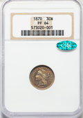 Proof Three Cent Nickels: , 1870 3CN PR64 NGC. CAC. NGC Census: (119/97). PCGS Population: (138/96). PR64. Mintage 1,000. . From The William Rehwal...