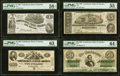 Confederate Notes:1862 Issues, T42 $2 1862 PF-5 Cr. 337 PMG Choice Uncirculated 63;. T44 $1 1862 PF-3 Cr. 341 PMG Choice About Unc 58 EPQ;. T57 $50 1... (Total: 4 notes)