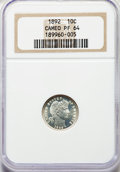 Proof Barber Dimes: , 1892 10C PR64 Cameo NGC. NGC Census: (10/36). PCGS Population: (23/42). PR64. . From The William Rehwald Proof Set Coll...