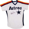 Baseball Collectibles:Uniforms, 1980's Bill Doran Game Worn & Signed Houston Astros Jersey. ...