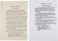 """Explorers:Space Exploration, Soviet Cosmonaut Selections: General Nikolai Kamanin's Own Initialed Copy of """"Requirements For Candidates"""" Document and His Or..."""