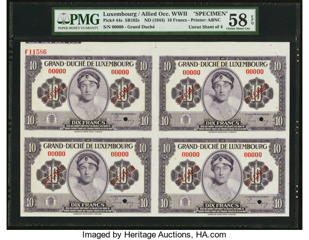 Luxembourg Allied Occupation World War II 10 Francs ND (1944