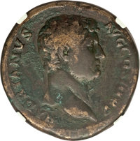 Ancients: Hadrian (AD 117-138). AE sestertius (32mm, 25.75 gm, 6h). NGC Fine 4/5 - 3/5, Fine Style