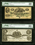 Confederate Notes:1861 Issues, T36 $5 1861 PF-2 Cr. 274 PMG About Uncirculated 53, minor ink burn;. T36 $5 1861 PF-6 Cr. 280 PMG Extremely Fine 40;. ... (Total: 5 notes)
